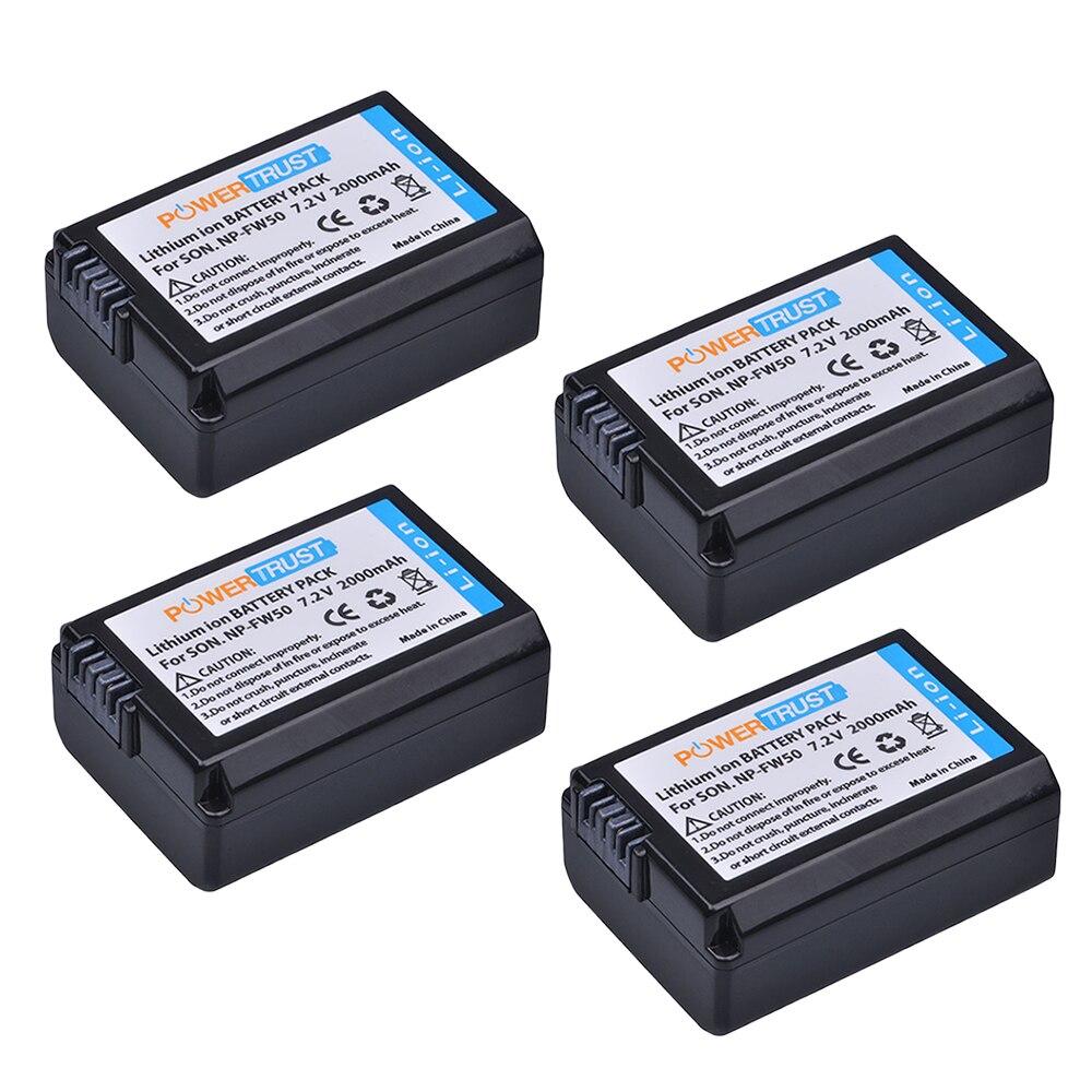 4 unids NP-FW50 NP FW50 NPFW50 batería para Sony A6500 Alpha 7 7R II 7 s a7S a7R II a5000 NEX-7 SLT-A37 DSC-RX10 RX10 II III Cámara