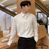 Men Dress Shirts Plaited Rhombus Lace Design Blouse Male Black White England Style Vintage Luxury Prom Party Wedding Shirt Men