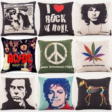 Peace Love Music 1969 Retro Cushion Cover Rock And Roll Music Jim Morrison Cushion Covers Decorative Linen Pillow Case(China)