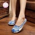 Белье Размер (35-40) Синий Летняя Мода Китайский Стиль Casual Дышащий Противоскольжения Вышивка тапочки сандалии