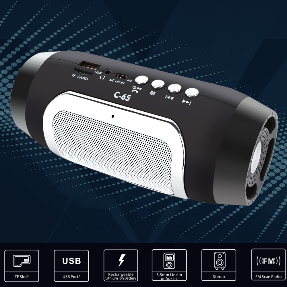 TOPROAD HIFI Portable Wireless Bluetooth Speaker With TF Support FM Radio And Sub Woofer Column Speakers 3
