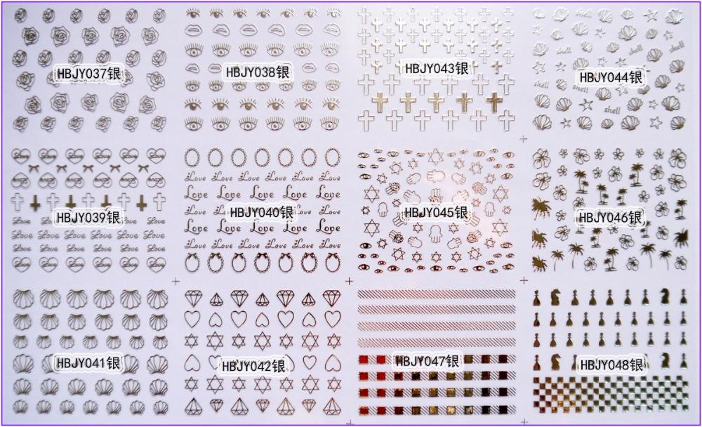 12 PCS /  LOT SELF-ADHESIVE 3D NAIL TATTOOS STICKER WHITE BLACK GOLD SILVER COLOR EYES ROSE CROSS CONCH DIAMOND RING HBJY037-048