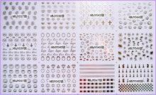 12 adet/grup kendinden yapışkanlı 3D tırnak dövmeler STICKER beyaz siyah altın gümüş renk gözler gül çapraz kabuklu elmas yüzük HBJY037-048