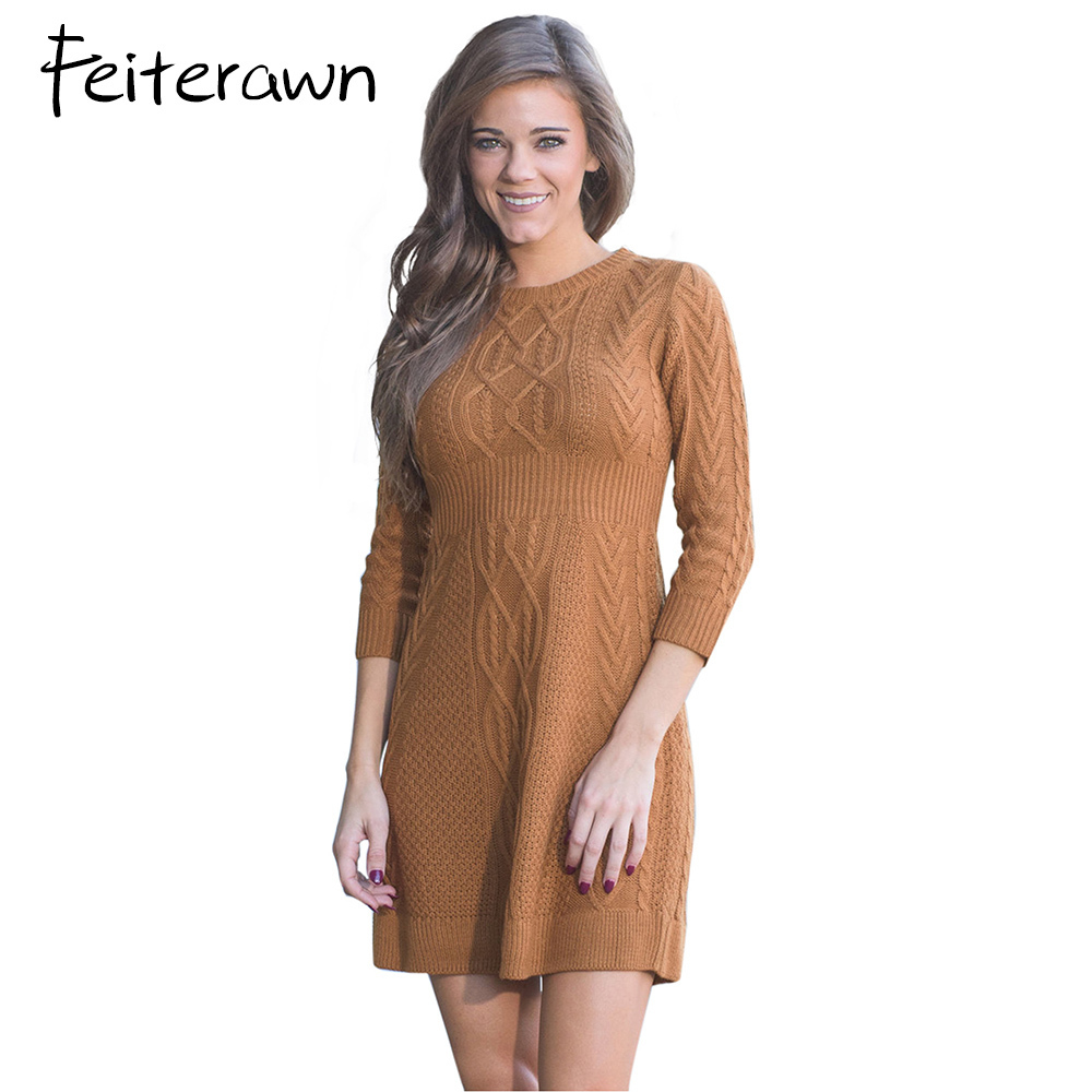 Feiterawn2018 Autumn Winter Cable Knit Fitted 3/4 Sleeve Sweater Dress Warm Mini Skater Knitted Dresses Trendy Vestidos cable knit a line sweater dress