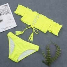2019 Sexy Lace Up Brazilian Bikini Swimwear Women Swimsuit Off Shoulder Bikinis Women Bandeau Biquini Bathing Suit Neon Yellow