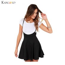 Fashion Women Black Skirt Preppy Style Shoulder Straps Mini Pleated Hem Braces  Skirt Lady Girl Skater Vestidos Femininos Dec21 8bf14dba3