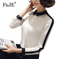 F&JE New 2017 Spring Fashion Korean Style Women High Quality Elegant Slim Blouse OL All-matched Long Sleeve Chiffon Shirt J566