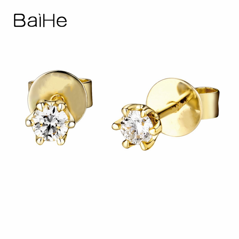 все цены на BAIHE Solid 14K Yellow Gold 0.16CT H/SI Genuine Natural Diamonds Engagement Trendy Fine Jewelry Elegant Unique Stud Earrings онлайн