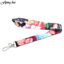 Flyingbee My Hero Academia keychain lanyards id badge holder ID Card Pass Gym Mobile Phone USB Badge Holder key strap X0099(China)
