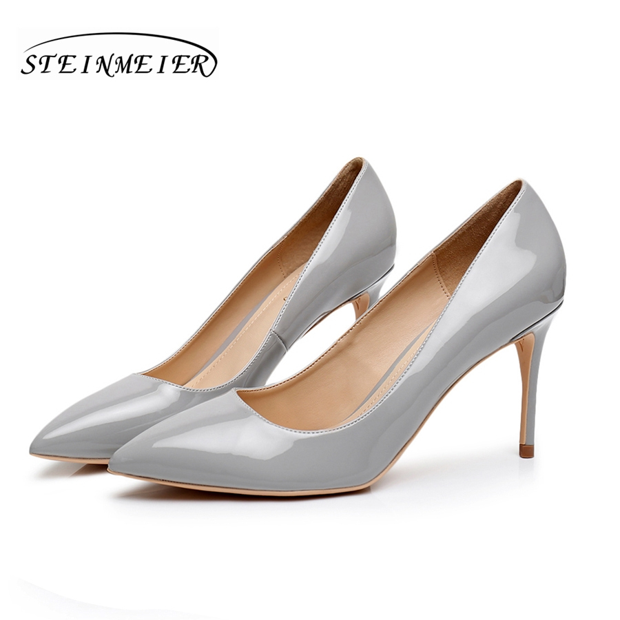 High heels women elegant heel grey shoes quality thin heel point toe 10cm patent leather  pumps meeting shoesHigh heels women elegant heel grey shoes quality thin heel point toe 10cm patent leather  pumps meeting shoes