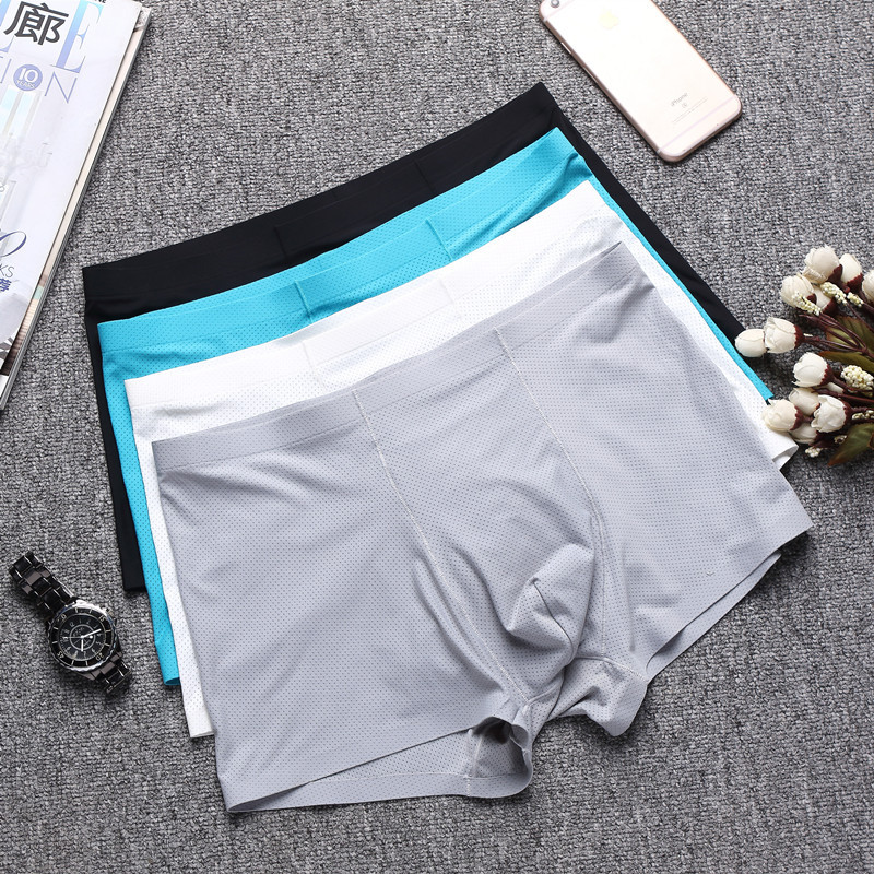 Male Underpants Slice Type Seamless Breathable Boxer Men Mesh Light And Quick-drying Nylon Ice Silk Underwear 6 Colors