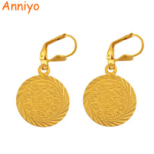 Anniyo Gold Color Coin Earrings Muslim Islamic Jewelry for Woman/Girls,Ancient coin Arab African Style #058606