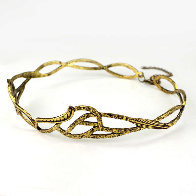 HANCHANG женские ювелирные изделия! винтажная Корона эльфа венок Золотой Серебряный Tolkien LOTR аксессуары для волос для костюмированного костюма