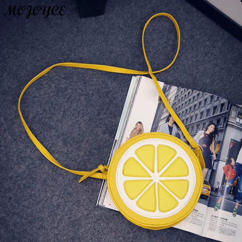 Для женщин круглый лимонный узор сумка просто молния PU мини сумка Сумки милый желтый плечо кошелек сумка 2018