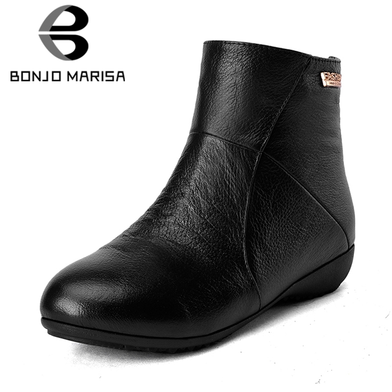 BONJOMARISA 2019 Winter Big Size 33-42 Genuine Leather Ankle Boots Women Casual Maturel Black Flat Boots Warm Fur Shoes WomanBONJOMARISA 2019 Winter Big Size 33-42 Genuine Leather Ankle Boots Women Casual Maturel Black Flat Boots Warm Fur Shoes Woman
