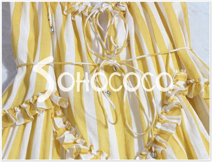 Sans As Manches Longue Pic Évider Robe Femmes Strap Élégant Sexy Spaghetti D'été Rayé Imprimer Asymétrique Jaune Ruches wBXqFFx1Z