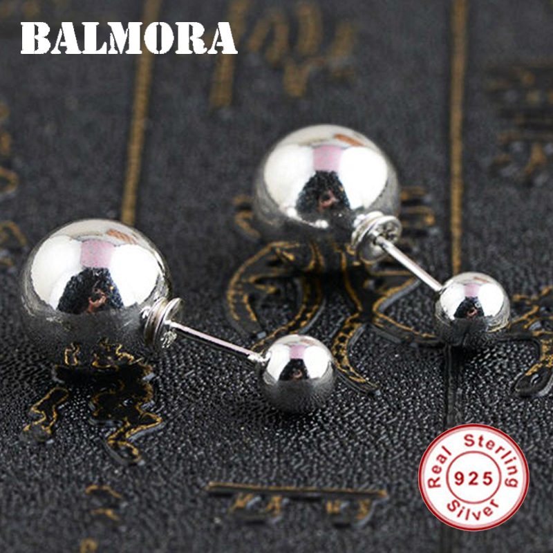 BALMORA 100% Real 925 Sterling Silver Double Balls Stud Earrings for Women Gift Sterling Silver Fashion Jewelry Brincos SY31185 недорго, оригинальная цена