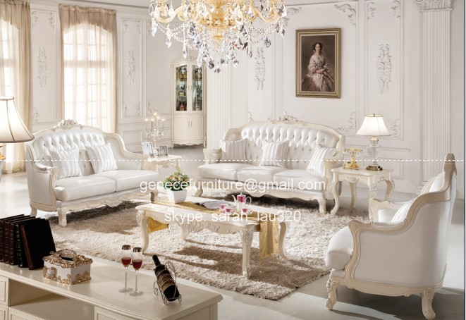 Pearl White Genuine Leather Sofa Set Family Living Room Sofa With Crystal  Diamond Buttons Part 36