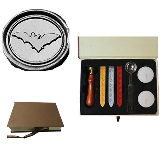 Vintage Cute Bat Flying Custom Picture Logo Wedding Invitation Wax Seal Sealing Stamp Sticks Melting Spoon Gift Box Set Kit