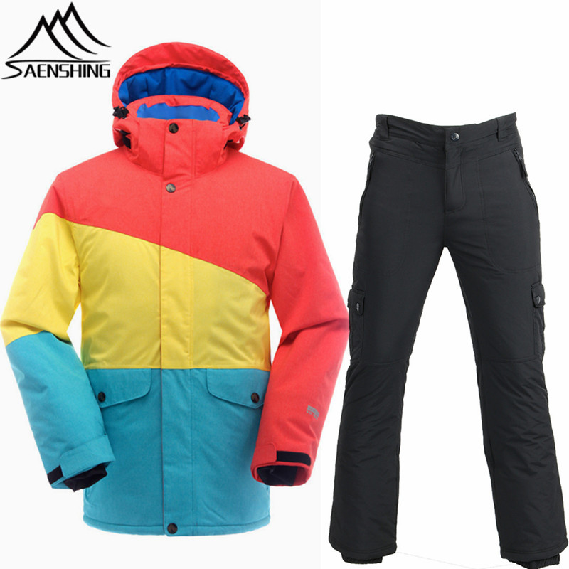 SAENSHING Cheap Ski Suit Men Waterproof Ski Jacket Snowboard Pants Thermal Breathable Outdoor Ski Skiing And Snowboarding Suits