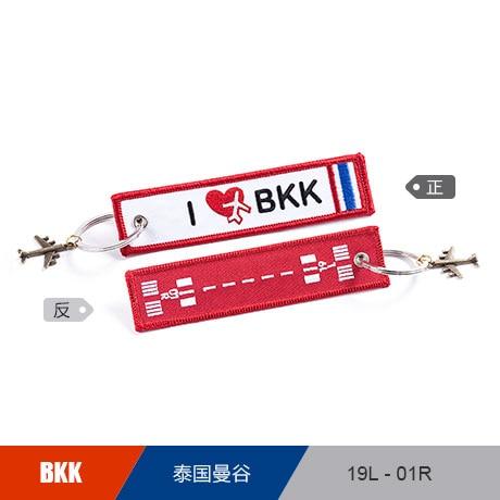 Thailand Bangkok BKK Airport Runway Luggage Tag Embroider Metal Plane Best Gift for Flight Crew Pilot Aviation Lover
