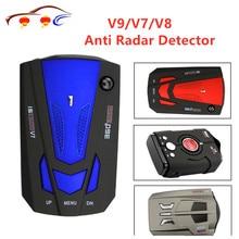 Лучший автомобиль 360 градусов 16 Band светодиодный дисплей V9/V7/V8 Анти радар детектор Скорость голосового оповещение, предупреждение на русском, английском