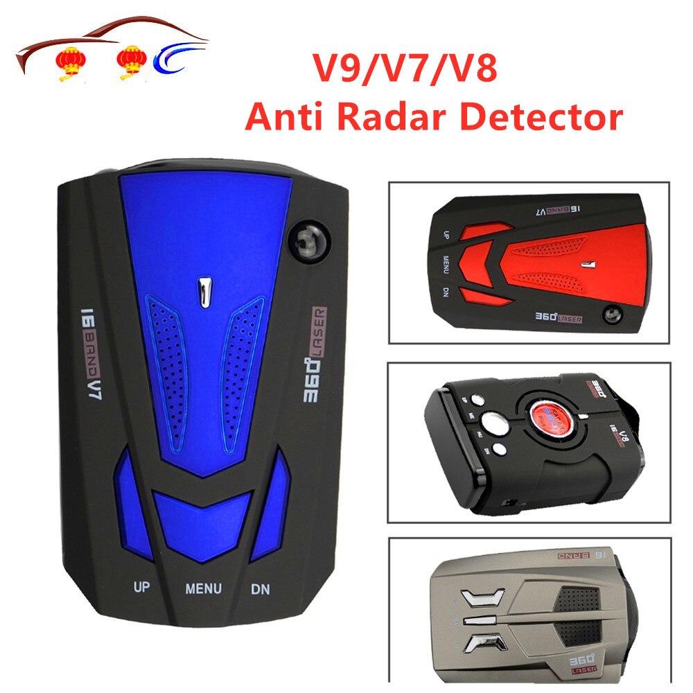 Beste Auto 360 Grad 16 Band Led-anzeige V9/V7/V8 Anti Radar Detektor Geschwindigkeit Voice Alert Warnung mit Russland Englisch