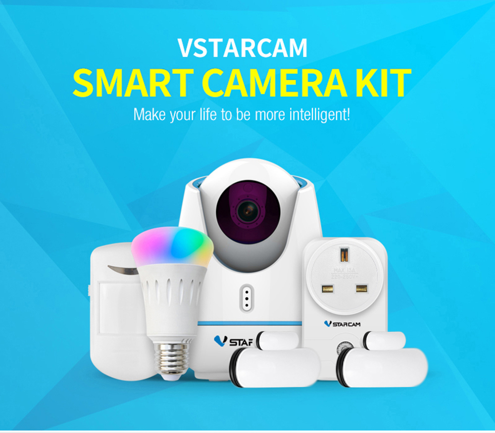 VStarcam E27 Night Vision 1080P WiFi IP Camera Set Door Sensor PIR Detector Smart Socket Lamp