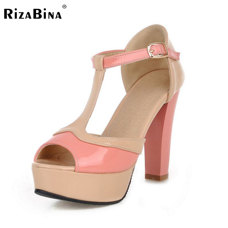 RizaBina women open peep toe buckle platform high heel sandals brand mixed color lady heeled heels shoes size34-43 P18173 shoes women 2017 summer new sweet buckle open toe wedge sandals high heeled shoes platform sandals size31 32 33 41 42 43