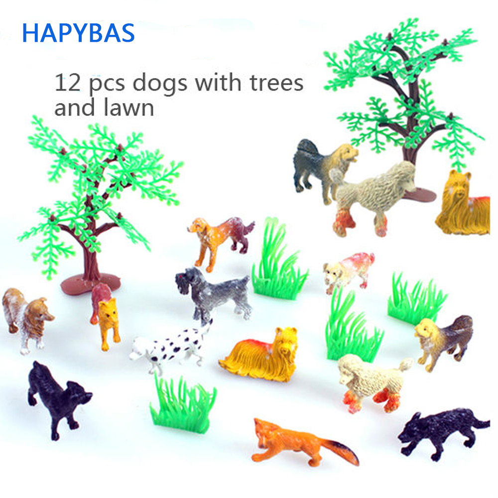 Plastic Animals Simulation dog theme 12pcs/set Solid various kinds dogs spotty dog shepherd Animales  Toys For Kid Children Собака