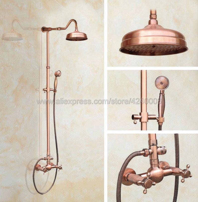 Antique Red Copper Wall Mounted Bathroom Shower Faucet Set 8 Rain Shower Head + Hand Spray Krg608