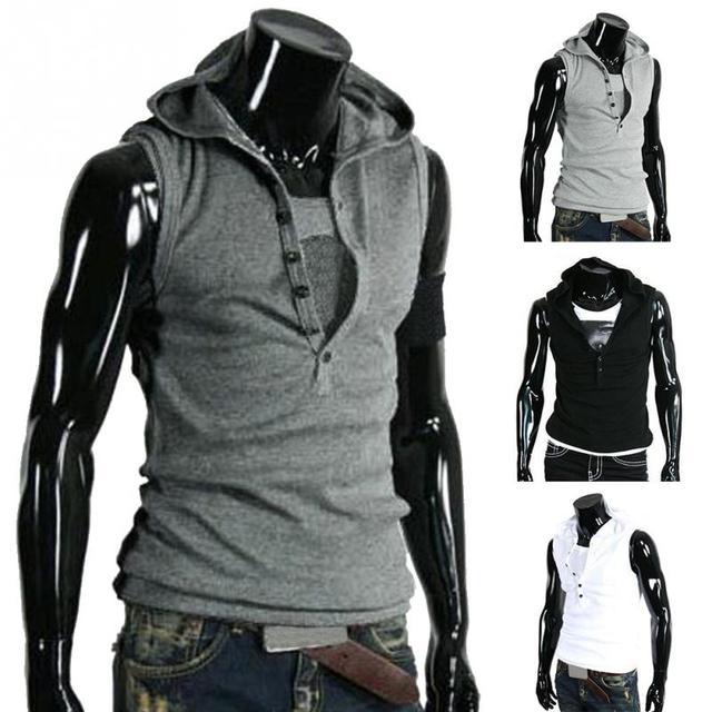 78e6610d Fashion Men Casual Fastener Slim Hoodie Sleeveless Vest Tee T-shirt Tank  Hoodie Vest 4 Colors