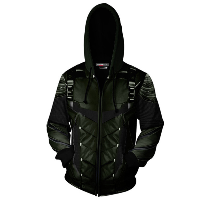 Image 2 - Movie Green Arrow Cosplay Costume 3D Printed Sweatshirt Hoodie Men Fashion Hooded Jacket Spring Autumn Coat-in Movie & TV costumes from Novelty & Special Use