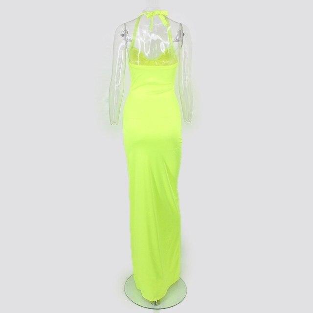 Synthetic Leather Halter Split Bodycon Kim Kardashian Outfit Dress 6