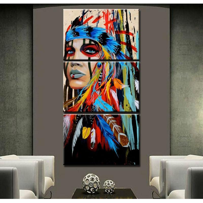 100% peint à la main art moderne peintures à l'huile les indiens plume peinture toile mur art pour salon livraison gratuite - 3