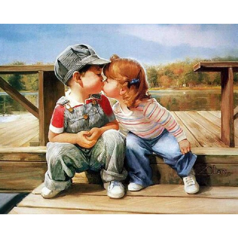 5d diamond Embroidery Two kids kissing diy diamond painting cross stitch for children puzzle mosaic crafts Y2223