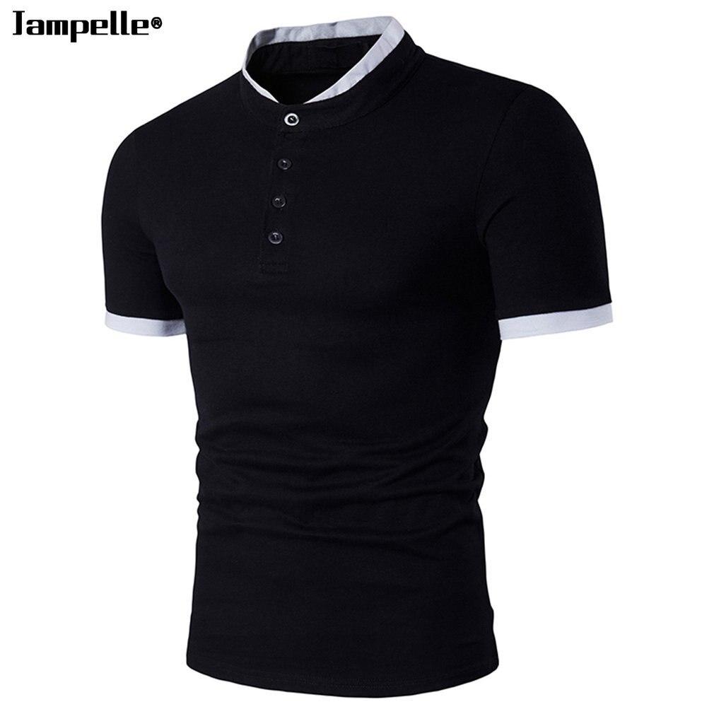 Design t shirt colar - Aliexpress Com Buy Jampelle Men S Shirts Simple Design Lapel Collar Short Sleeved T Shirt Men Slim Tops Casual Summer T Shirts Black White From Reliable