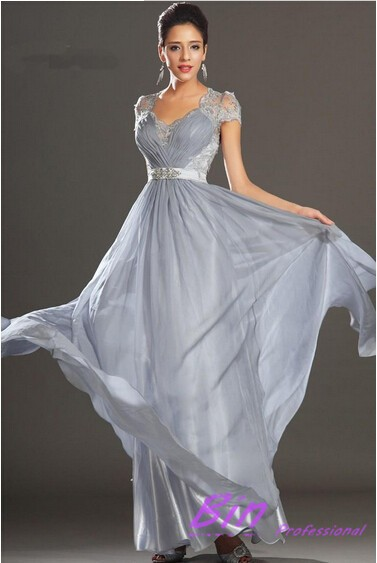 New Elegant Silver Grey Ruched Floor Length Chiffon Lace Evening Dresses Prom Party Gown 2014