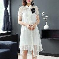 Блузки fem me 2019 женские офисные топы и блузки плюс размер dames Летние повседневные сексуальные белые шелковые цветочные рубашки Длинные