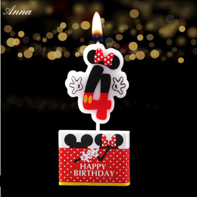 1pc Birthday Candle Mickey Minnie Mouse 4 Anniversary Cake Numbers Age Party Supplies Decoration