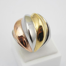 Stainless Steel 3 Color Rings Women Jewelry Gold Silver Rose Gold Unique Rings Women Size 6 7 8 9