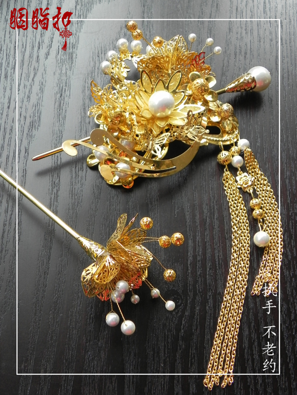 Pearl buckle chinese style classical  bride hair accessory classical hairpin tassel price is for 1 full set bohemian style faux pearl floral tassel hair accessory for women
