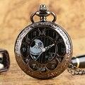 Прохладный Кошмар Перед Рождеством Тема Черный Полый Корпус Конструкция Кварцевые Карманные Часы Ожерелье Брелок Часы для Мужчин