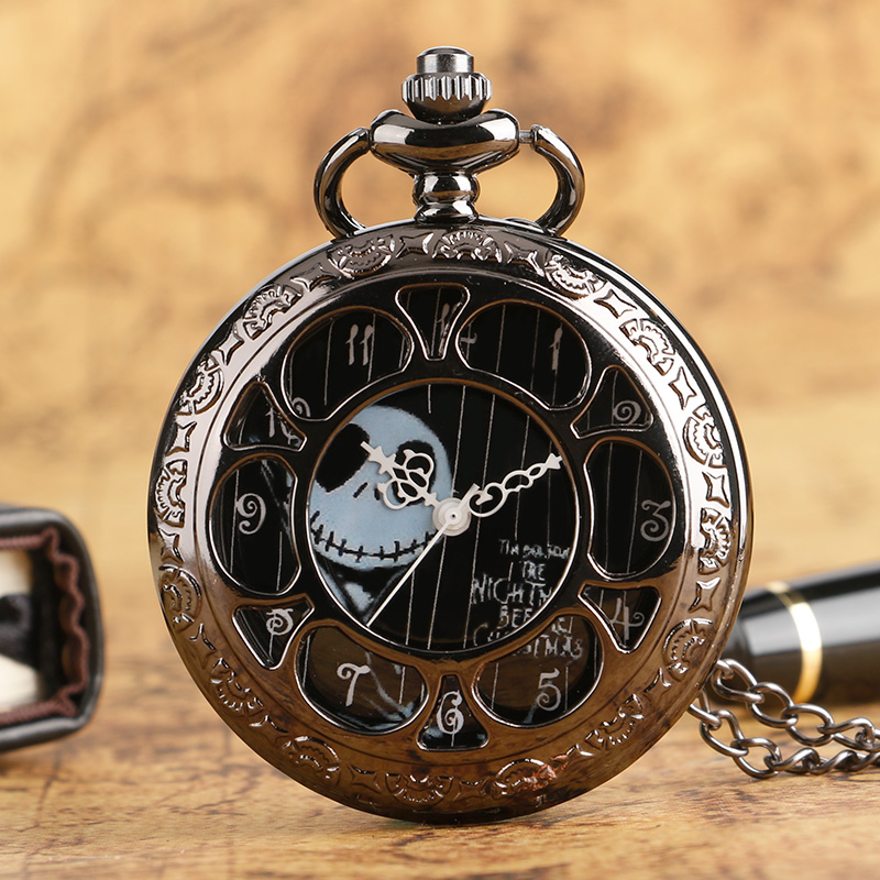 Cool The Nightmare Before Christmas Theme Black Hollow Case Design Quartz Pocket Watches Pendant Necklace Fob Watch for Men цена и фото