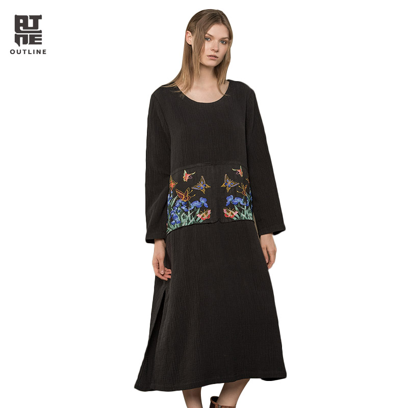 Outline Women Black Cotton Linen Dresses Vintage Plus Size O neck Long Sleeve Animal Embroidery Patch