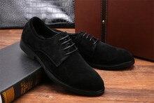 Мода черный/коричневый загар мужские квартиры обувь из нубука натуральная кожа повседневная обувь мужская уличной обуви