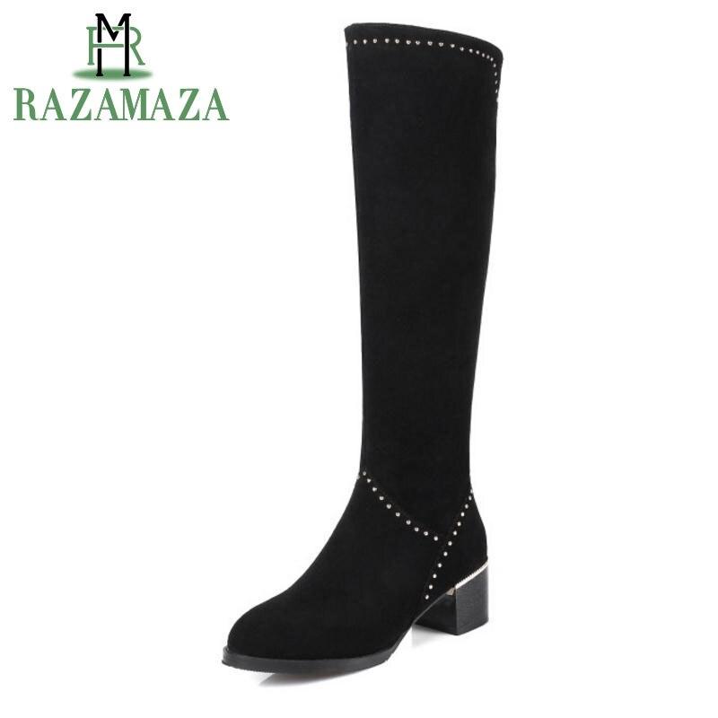 Éclair Mode Razamaza Bout Chaussures Carré Talons Hauts Sur Fermeture En 45 Genou Bottes Rond Cuir Size31 Véritable Femmes Talon Noir shrtQd