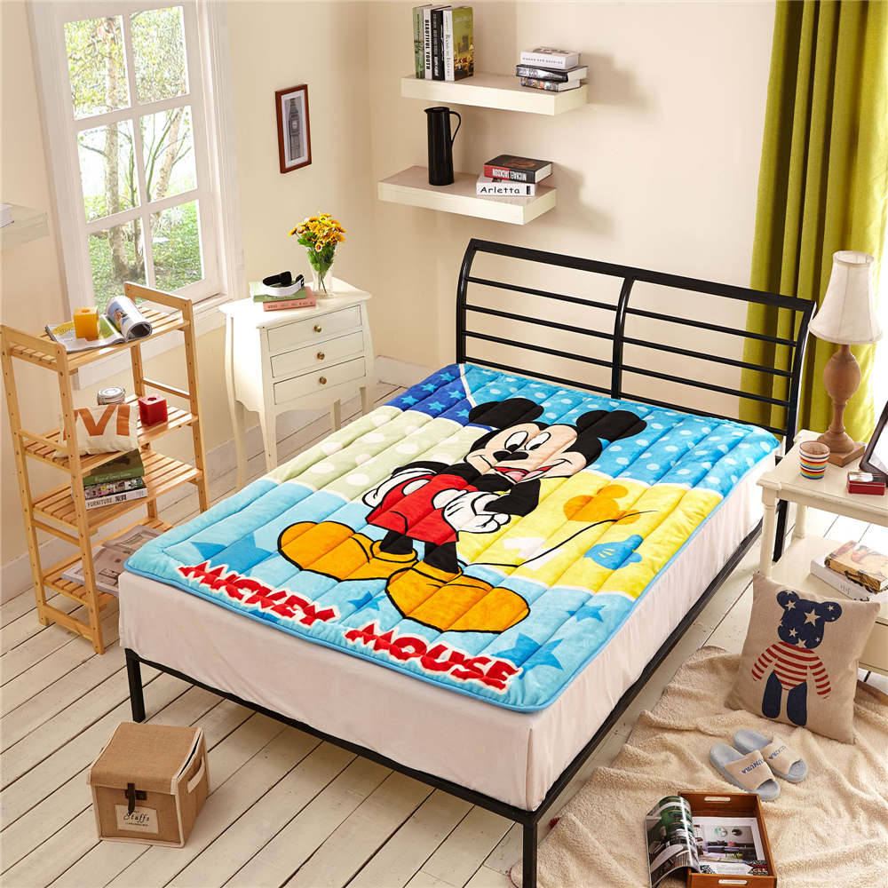Disney Cartoon Mickey Mouse Printed Mattress Protection Pad Mattress Topper Bedding Children Children Bed Flannel Polyester Blue