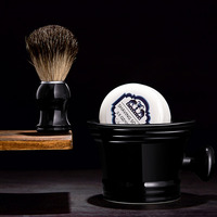 Grandslam 3pcs/set Man Ceramics Shaving Bowl Black Mug +Normal Badger Shaving Brush Barber + Shave Beard Shaving Razor Soap