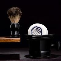 Grandslam 3pcs/set Man Ceramics Shaving Bowl Black Mug +Normal Badger Shaving Brush Barber + Shave Beard Shaving Razor Soap